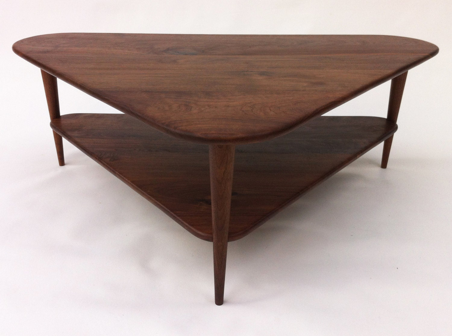 mid century modern coffee table w shelf triangle cocktail. Black Bedroom Furniture Sets. Home Design Ideas