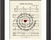 I Hope You Dance Art Print, Spiral Song Lyric Art Print, Sheet Music Art, Dancing Art, Wedding Art, Girl Art, Couples Art