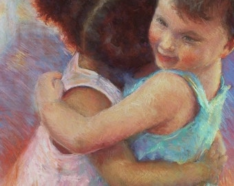 Children Figurative Canvas Giclee Print, Print of Children, Carol Schiff Print, Free Shipping