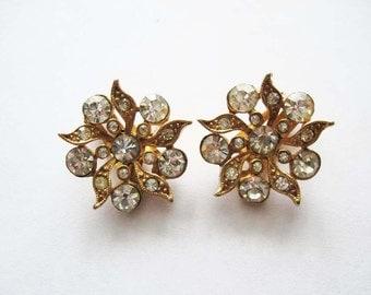Vintage Charel Rhinestone  Flower Earrings