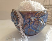 Yarn Bowl for Knitting and Crochet - Turtle Bowl - Tropical Beach Life - Handmade Pottery - Blue