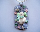 Cute Snowman - Handmade Polymer Clay Dog Tag Style Necklace