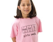 Pink Smart Girls Rock - Science T-shirt - Toddler, Children's Clothes, Chemistry, Periodic Table of Elements, Science Teacher