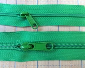 Green Purse Zippers by the yard. 2yds with 8pulls each size 3mm & 5mm