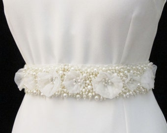 Pearl Beaded Bridal Wedding Sash Belt  with pearls rhinestones crystal beads ivory Ready to Ship