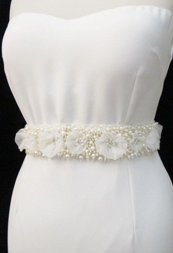 pearl beaded bridal wedding sash belt with pearls by gebridal