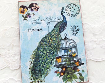 Peacock Notecards -Blank Note Cards -Birdcage -Pansy -French Paris Postcards- Turquoise -Postale Carte- Tea Party - Bridal Shower Handmade