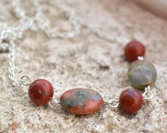 "Artemis Unakite, Red Jasper Necklace - Silver Chain - Handmade OOAK - 20"" Free US Shipping, Genuine Healing Gemstones, Metaphysical Jewelry"