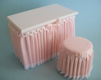 Miniature pale pink Skirted Vanity One Inch Scale with matching Stool