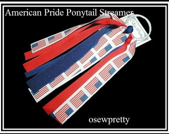 July 4th hair bow, PATRIOTIC Ponytail Streamer, Red white and blue hair bows, American made Flag Hair Bow, Patriotic Ponytail holders,