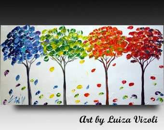 Abstract SEASONS Painting SEASONS Modern Hand Made Oil Artwork on Canvas by Luiza Vizoli LARGE made to order