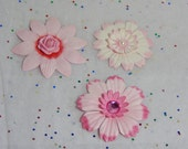 Pretty and Pink Paper Flowers...Set of 3