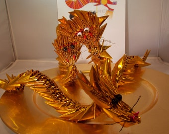 Gold Origami Dragon-Golden Dragon Chinese New Year Dragon-3D Origami Dragon-450 Plus Folded Pieces-Chinese Dragon.