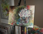 painting daisy in vase abstract still life acrylic white blue red, daisy painting, abstract daisy art, brown white, abstract still life