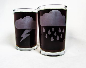 Stormy Weather Etched Tumblers - Sandblasted Glass Stormy Weather