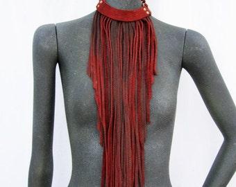 leather fringe necklace, fringe bib, long fringe necklace, boho, gypsy, tribal, statement piece: Renegade Icon Designs