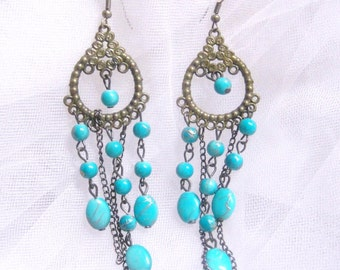 Gold tone Faux Turquoise Dangle Earrings 4""