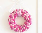 Valentine's Day Wreath, Felt Ball Wreath, Fuchsia Pink Red, Romantic Love Home Decor