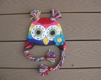 rainbow owl hat made to order in size newborn to adult x large
