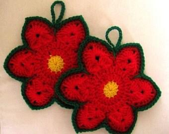 Crocheted Pair of Christmas Potholders - Poinsettias