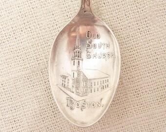 SALE --- Vintage Alvin Sterling Old South Church Boston Landmarks Engraved Bowl Demitasse Souvenir Spoon