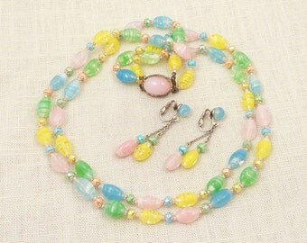 SUPER SALE --- Vintage Pastel Japanese Glass Necklace and Earring Demi Parure