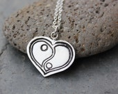 Yin Yang Heart necklace - fine silver handmade charm - zen love - sterling silver chain - free shipping in USA