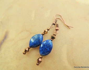 Lapis and Copper Earrings, Lapis and Crystal, Copper Jewelry, Handcrafted Jewelry, Gemstone Jewelry, Cobalt Blue and Copper