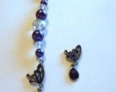 Cross Stitch, Tapestry, Needleminder - Scissor Fob Keyring  - Purple Glass Colored Beads Butterfly Charm Pendant Keyring