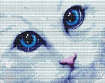 Cat Cross Stitch Kit By SheWhiteDragon Winter Cat counted Cross Stitch Kits