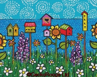 Modern cross stitch kit by Shelagh Duffett 'Bird Houses' cross stitch (Alice in Paris)