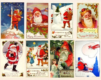 Vintage Santa digital collage sheet 2 from classic Christmas card designs, ATC/ACEO size, instant download