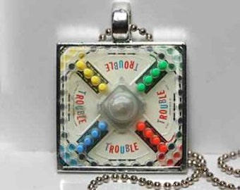 Vintage TROUBLE Game Board Altered Art GLASS Pendant Charm Necklace