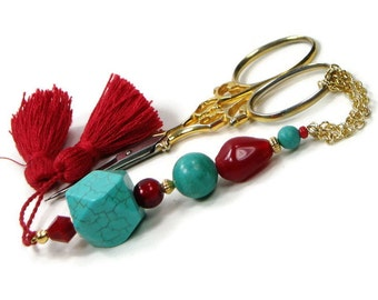 Scissor Fob, Beaded Scissor Minder Scissor Keeper Turquoise Red Sewing Quilting Cross Stitch Needlepoint