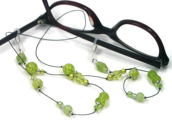 Lime Green Eyeglass Frames : Lime Green Glasses Chain Eyeglass Chain Reading by TJBdesigns