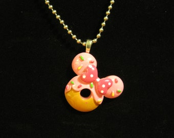 Minnie Mouse Donut With Pink Icing  Bow and Sparkles Necklace