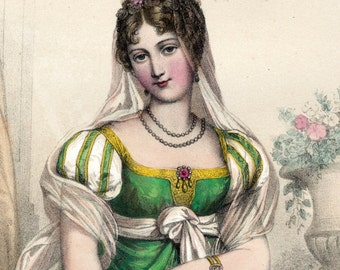 1857 Antique Chromolithograph of the Beauties of Napoleon's Court. Caroline Bonaparte