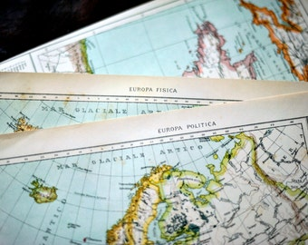 1907 Italian Antique Maps of Europe -- Set of Two