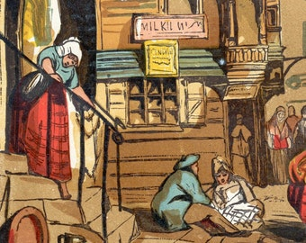 1880 Old England Series. Antique Chromolithograph of a Street Scene in Edinburgh\/the House of John Knox