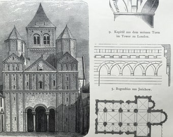 1888 German Antique Architectural Print on Medieval Church Architecture, No. 46