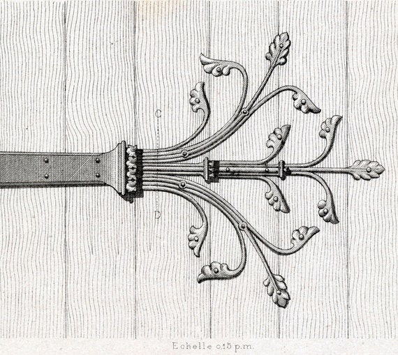 1880 French Antique Engraving of Decorative and Architectural Metalwork. Cast-iron Hinges. Plate 44