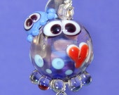 Lampwork Squeedle Charm Clip Big Red Heart Purple Blue Octopus Large Clip Purse Charm Cute Character Awareness
