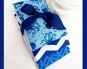 NEW ETSY MARKET - Baby Boy Burp Cloths by plmdezigns - in Deep Blue Sea Trio - Premium Ocean Diaper Burpcloths - Navy Blue Chevron Gift Set