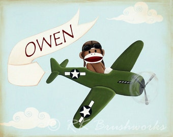 Childrens Art Print - Vintage Airplane Sock Monkey 8x10 print personalized - nursery wall decor green