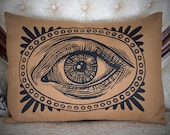 The All Seeing Eye hand printed pillow cover natural linen rayon blend home decor