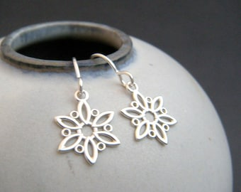 small silver snowflake earrings. simple silver earrings. sterling drop. everyday simple jewelry. filigree winter. ready to ship gift for her