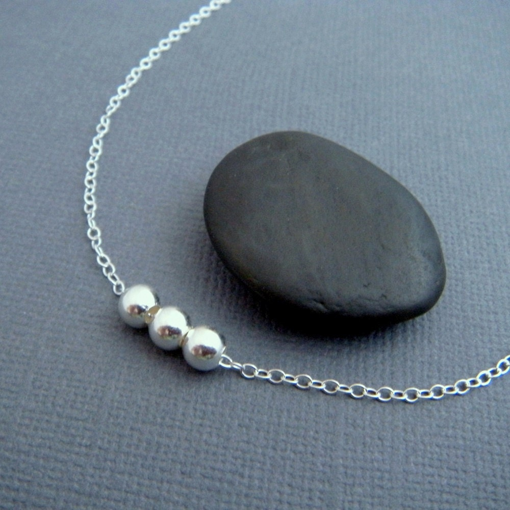 Tiny Bead Necklace 3 Three Bead Necklace Sterling Silver
