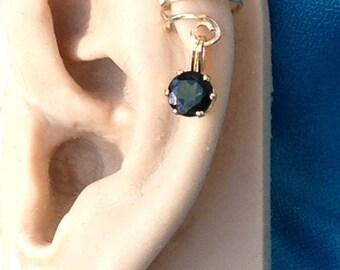 Goldfill Gemstone Ear Cuff - Chrome Diopside
