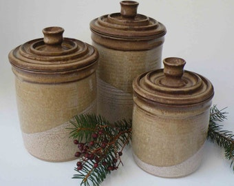 brown kitchen canister sets pottery canister set ships in 1 week by janfairhurstpottery 16503