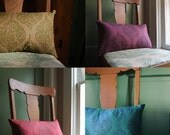 Fiddlehead rustic home decor decorative hand block printed linen pillow